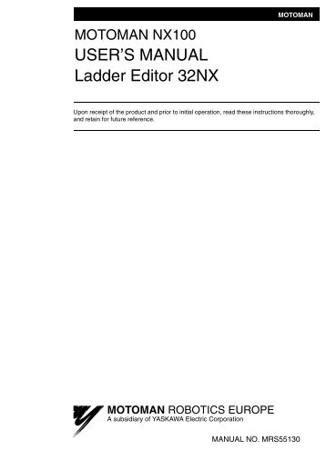 USER'S MANUAL Ladder Editor 32NX - Motoman