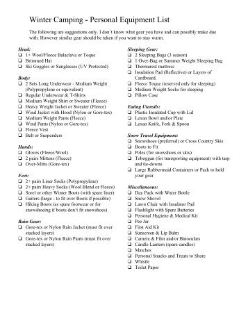 Winter Cabin Camping Personal Equipment List This