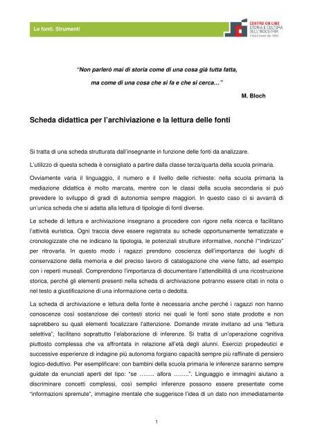 Scheda Didattica Per Larchiviazione E La Lettura Delle Fonti