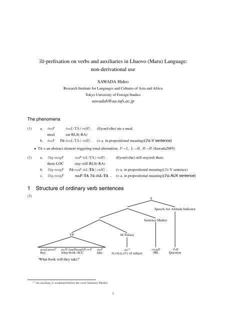 Pe A Prefixation On Verbs And Auxiliaries In Lhaovo Maru Language