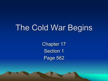 The Cold War Begins - Derry Area School District