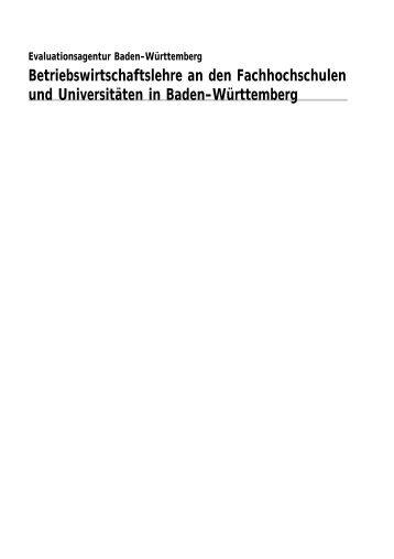Betriebswirtschaftslehre an den Fachhochschulen und ... - Die evalag