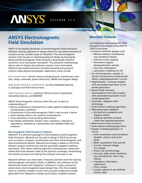 ANSYS Electromagnetic Field Simulation - PhilonNet