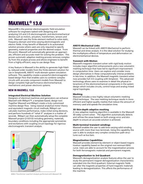Ansys Ansoft Maxwell Pdf 921 Kb Philonnet Engineering Solutions