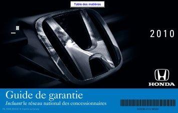 Guide de garantie - Honda Canada