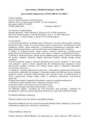 Sprawozdanie z działalności fundacji w roku 2009 Sprawozdanie ...