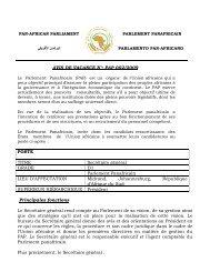 AVIS DE VACANCE N°: PAP 002/2009 POSTE ... - African Union