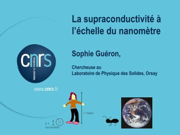 La supraconductivité à l'échelle nanométrique
