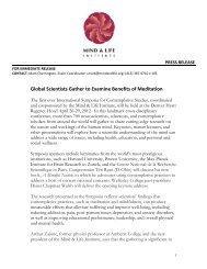 International Symposia press release 12-4-11 - Mind & Life Institute