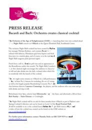 Press Release Bacardi and Bach- Orchestra creates classical