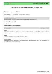 Carrière de marne et minéraux rares (Cornaux, NE) - admin.ch