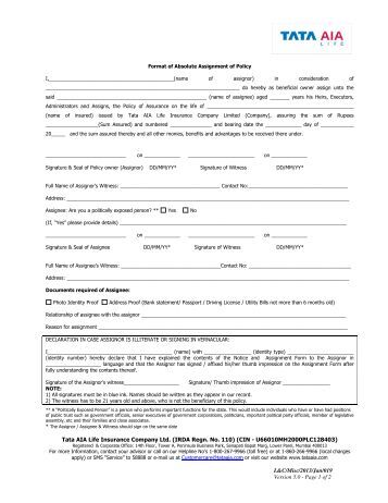 insurance assignment form Please note: a w-9 must also be completed and returned with this absolute assignment form absolute assignment - cmfg life insurance company.