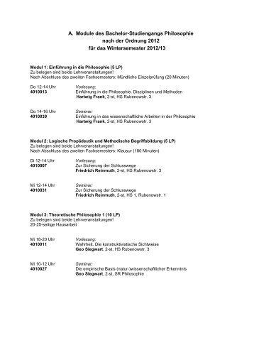 A. Module des Bachelor-Studiengangs Philosophie nach der Ordnung
