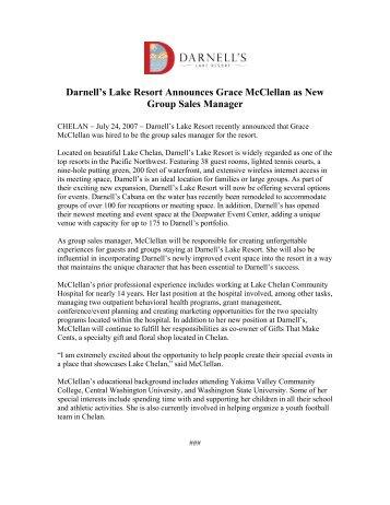 Darnell's Lake Resort Announces Grace McClellan as New Group ...