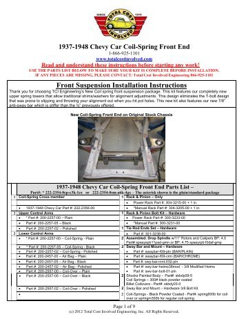 1937-1948 Car - New - Coil-Spring IFS Kit - Total Cost Involved