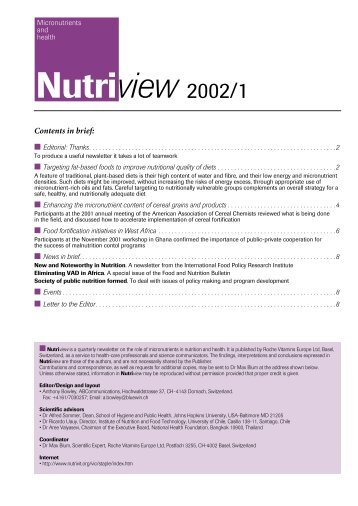 Nutriview 2002/1 - South African Health Information