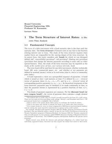 1 The Term Structure of Interest Rates: A Dis# - Professor Menelaos ...