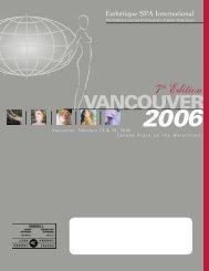 Vancouver 2006 Program - Esthétique Spa International