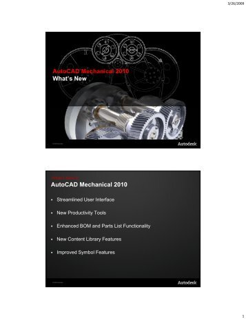 AutoCAD Mechanical 2010 What's New AutoCAD Mechanical 2010
