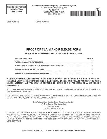 Instructions For Proof Of Claim Form If You Purchased