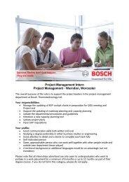 Project Management Intern Project Management ... - Bosch-Career