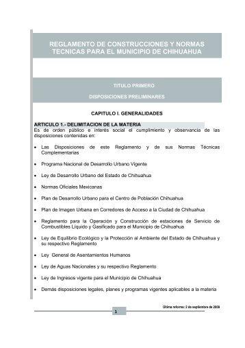 Reglamento de Construcciones y Normas Técnicas para el ...