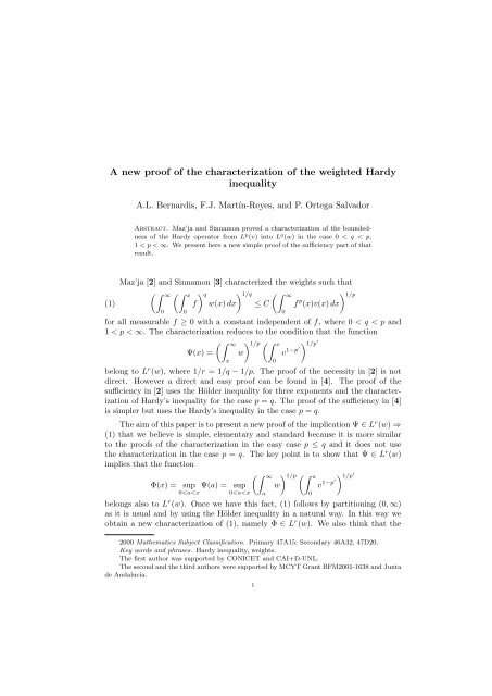 A new proof of the characterization of the weighted Hardy inequality