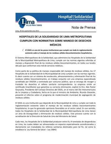 hospitales de la solidaridad de lima metropolitana cumplen con ...