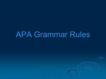 APA Grammar Rules