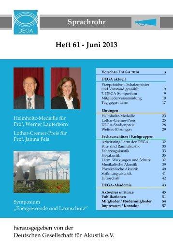 sprachrohr61.pdf (ca. 2,1 MB) - Deutsche Gesellschaft für Akustik eV
