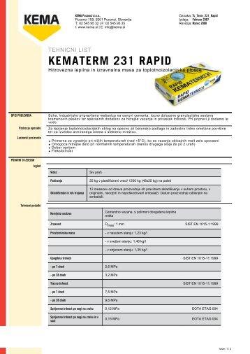 KEMATERM 231 RAPID - Kema.si