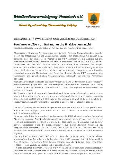 Bruckner wollte von Anfang an die Waldbauern nicht - WBV Viechtach