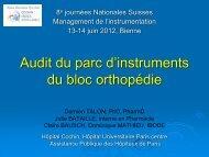 Audit du parc d'instruments du bloc orthopédie - Société Suisse de ...