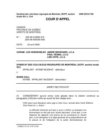 Jugement Cour d'appel - Trudel & Johnston