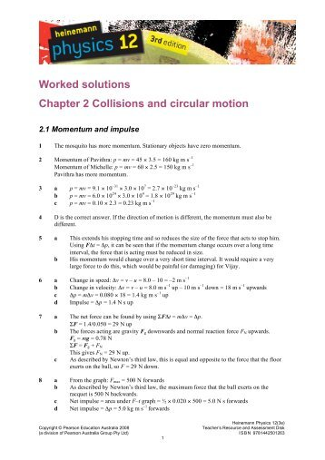 Worked solutions Chapter 2 Collisions and circular motion - PEGSnet
