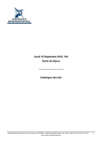 Jeudi 16 Septembre 2010, 14h Vente de bijoux Catalogue des lots