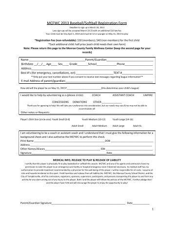 Registration Form - Monroe County Schools