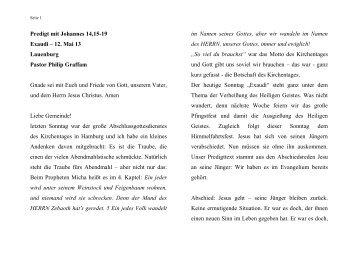 Predigt vom 12.05.2013 - ev. Kirche in Lauenburg