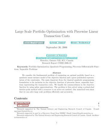 Large Scale Portfolio Optimization with Piecewise Linear ...