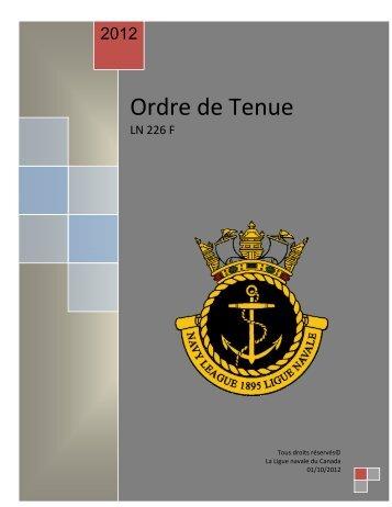 Ordre de Tenue - The Navy League of Canada