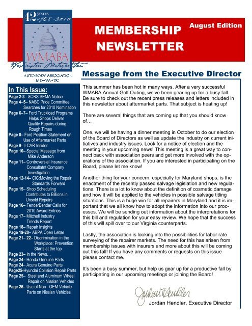 MEMBERSHIP NEWSLETTER - Washington Metropolitan Auto Body