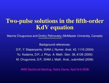 Two-pulse solutions in the fifth-order KdV equation - Dmitry ...