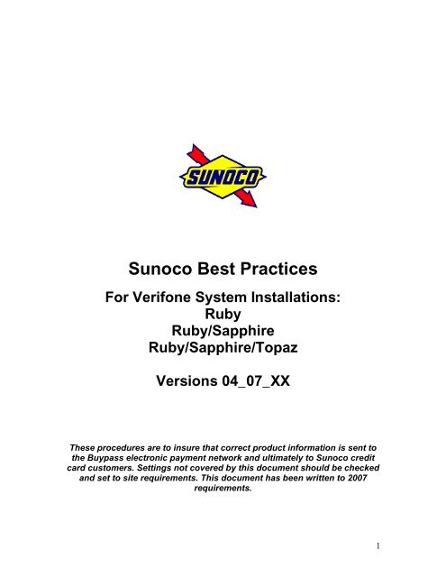 Sunoco Best Practices - VeriFone Premier