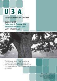 Course List 2nd Semester 2007 - Sydney U3A