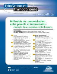 Difficultés de communication entre parents et intervenants : - acelf