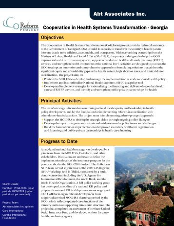 Cooperation in Health Systems Transformation ... - Abt Associates