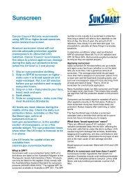 Sunscreen information sheet - SunSmart