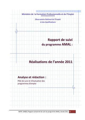 """Rapport de suivi du programme"""" AMAL"""""""