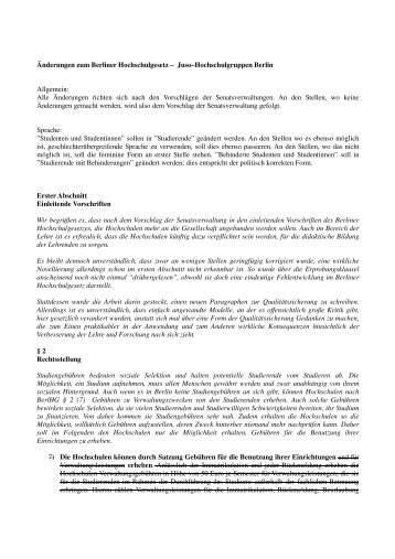 Stellungnahme der Jusos zum BerlHG - Berliner Hochschulgesetz