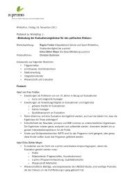 Protokoll zu Workshop 1: Ã'Â«Bedeutung der ... - a:primo